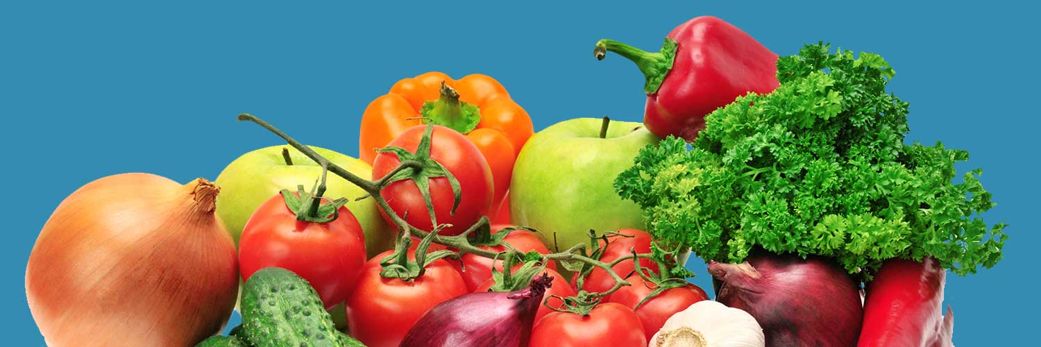 Background image with vegetables on blue background